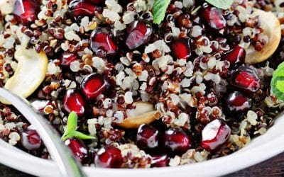 Quinoa and chickpea salad with pomegranate and mint.