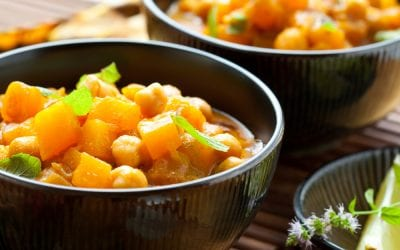 Roasted Squash and chickpea curry with cauliflower rice