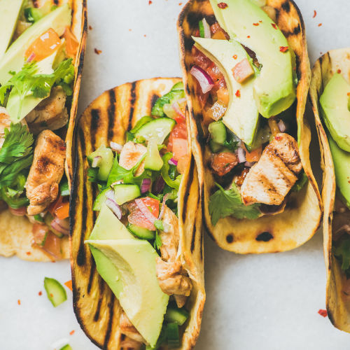 Chicken, avocado and salsa taco