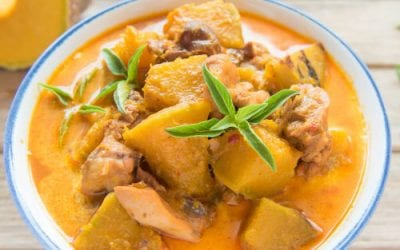 Pumpkin and chicken curry with cashews