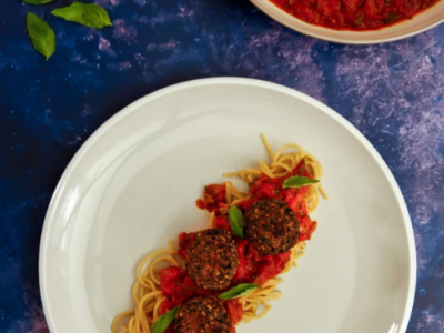 Cavalo nero and mushroom meat-free balls with a rich tomato sauce