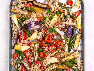 Mediterranean vegetable tray bake with salsa verde