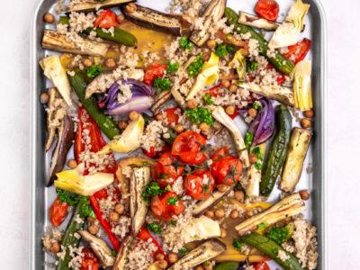 Mediterranean vegetable tray bake with salsa verde